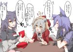 3girls animal_ear_fluff animal_ears arknights birthday_party blush food hair_between_eyes happy_birthday long_hair long_sleeves mirui multiple_girls pocky projekt_red_(arknights) provence_(arknights) tail texas_(arknights) translation_request wolf_ears
