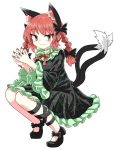 1girl :3 animal_ears bare_legs black_bow black_dress black_footwear black_ribbon bow braid cat_ears chups dress extra_ears eyebrows_visible_through_hair frilled_dress frilled_sleeves frills green_frills highres kaenbyou_rin multiple_tails neckwear red_eyes red_nails red_neckwear redhead ribbon solo tail touhou twin_braids two_tails white_background