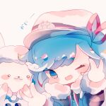 1girl 1other :3 black_coat blue_eyes blue_hair blush_stickers chibi coat commentary fur-trimmed_coat fur-trimmed_sleeves fur_trim fuyuzuki_gato hair_ribbon hands_up hat hatsune_miku highres looking_at_viewer one_eye_closed open_mouth rabbit rabbit_yukine red_ribbon ribbon sailor_hat side-by-side smile translated upper_body v vocaloid wavy_hair white_headwear yuki_miku yuki_miku_(2022)