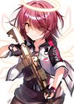 1girl absurdres arknights assault_rifle bangs belt black_belt black_gloves black_shirt blush brown_eyes clothes_writing commentary_request exusiai_(arknights) eyebrows_visible_through_hair eyes_visible_through_hair gloves gun hair_intakes hair_over_one_eye halo heart highres holding holding_gun holding_weapon jacket looking_at_viewer m4_carbine nenobi_(nenorium) open_clothes open_jacket partial_commentary raglan_sleeves redhead rifle shirt short_hair simple_background smile solo translated weapon white_background white_jacket