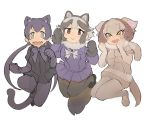 3girls black_leopard_(kemono_friends) bow bowtie fangs fur_collar highres horns igarashi_(nogiheta) kemono_friends low_twintails multiple_girls pantyhose sailor_collar sheep_(kemono_friends) sheep_horns shorts skirt tail tanuki_(kemono_friends) twintails