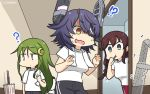 3girls alternate_costume bangs black_pants braid brown_hair commentary_request cowboy_shot crescent crescent_hair_ornament dated dotted_line eyepatch green_eyes green_hair hair_ornament hamu_koutarou headgear highres kantai_collection long_hair multiple_girls nagatsuki_(kantai_collection) noshiro_(kantai_collection) pants purple_hair red_pants shirt short_hair standing swept_bangs t-shirt tenryuu_(kantai_collection) toothbrush_in_mouth towel towel_around_neck track_pants twin_braids umbrella white_shirt white_towel yellow_eyes