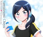 1girl bangs black_shirt blue_eyes blue_hair bottle character_name closed_mouth collarbone copyright_name eyebrows_visible_through_hair hair_ornament hair_over_shoulder healin'_good_precure hikari_(hikari_no_kobako) holding holding_bottle long_hair looking_at_viewer parted_bangs ponytail precure sawaizumi_chiyu shiny shiny_hair shirt short_sleeves smile solo twitter_username upper_body water_bottle