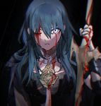 1girl armor blood blood_on_face blue_eyes blue_hair byleth_(fire_emblem) byleth_(fire_emblem)_(female) clovisxvii fire_emblem fire_emblem:_three_houses holding holding_sword holding_weapon one_eye_closed parted_lips solo sword sword_of_the_creator upper_body weapon