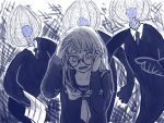 1girl artist_request business_suit formal glasses greyscale hands_on_own_head long_hair monochrome monster neckerchief necktie open_mouth persona persona_5 pointing_at_another sailor_collar sakura_futaba school_uniform suit tears translated