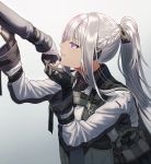 1girl ak-12_(girls_frontline) black_gloves braid commentary_request french_braid from_side girls_frontline gloves gradient gradient_background grey_background grin hair_ribbon high_ponytail holding_another's_arm long_hair long_sleeves out_of_frame parted_lips partly_fingerless_gloves ribbon sidelocks silence_girl silver_hair smile tactical_clothes violet_eyes