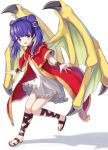 1girl :d absurdres bangs blush commentary dragon_wings dress eyebrows_visible_through_hair fire_emblem fire_emblem:_the_sacred_stones full_body hako_momiji highres long_hair looking_at_viewer myrrh_(fire_emblem) open_mouth purple_hair red_dress red_eyes sandals shadow short_dress simple_background smile solo twintails white_background white_dress wings wristband