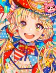 1girl 43_pon :d bang_dream! bangs blonde_hair bow bowtie colorful commentary earrings eyebrows_visible_through_hair frills hair_bow hat highres holding jacket jewelry long_hair looking_at_viewer mismatched_earrings open_mouth pennant polka_dot polka_dot_bow red_bow smile solo string_of_flags tsurumaki_kokoro twintails upper_body yellow_eyes