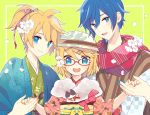 1girl 2boys :d blonde_hair blue_eyes blue_hair blue_nails brother_and_sister cherry_blossoms closed_mouth commentary_request flower fur_collar glasses green_background hair_flower hair_ornament hairclip hat holding_hands japanese_clothes kagamine_len kagamine_rin kaito kimono looking_at_viewer multiple_boys obi open_mouth orange_nails outline petals ponytail red-framed_eyewear sash scarf short_hair siblings smile upper_body vocaloid white_flower white_outline yoshiki