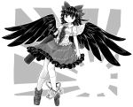 arm_cannon black_feathers black_frills black_hair bow chups closed_mouth dress feathered_wings looking_up mismatched_footwear reiuji_utsuho sketch third_eye touhou weapon white_dress wings