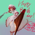 1girl bad_anatomy bad_leg blue_background copyright_request dress dual_wielding english_text facial_scar flower garter_straps happy_birthday hat hat_flower holding holding_sword holding_weapon incoming_attack inishie_kumo long_dress long_sleeves looking_at_viewer orange_eyes red_flower red_rose redhead rose scar scar_on_cheek short_hair smile solo sword weapon white_dress white_headwear