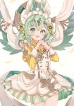 1girl :d absurdres bangs blush commentary cowboy_shot double-breasted dress fangs flower frilled_dress frills gem green_eyes green_hair hair_flower hair_ornament hands_together heart heart-shaped_pupils highres juliet_sleeves kuroe_(last_period) last_period long_sleeves looking_at_viewer maid_headdress open_mouth pinafore_dress puffy_sleeves shirt sleeve_cuffs smile solo symbol-shaped_pupils wata_ramune white_dress yellow_flower yellow_shirt