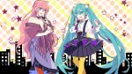 2girls :d ahoge aqua_eyes aqua_hair aqua_nails bangs bare_shoulders black_choker black_skirt blue_eyes braid choker commentary_request crown_braid earrings eye_contact eyebrows_visible_through_hair feet_out_of_frame frilled_skirt frills hair_ornament hair_pom_pom hand_up hatsune_miku high-waist_skirt holding holding_microphone jewelry long_hair long_sleeves looking_at_another megurine_luka microphone multiple_girls off-shoulder_shirt off_shoulder open_mouth pantyhose pink_hair pom_pom_(clothes) puffy_long_sleeves puffy_sleeves purple_skirt red_legwear shawl shirt skirt smile star_(symbol) very_long_hair vocaloid white_shirt yellow_legwear yoshiki