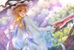 1girl ass blonde_hair blush bra chiaki_rakutarou dutch_angle embarrassed hat highres holding holding_sword holding_weapon kirisame_marisa long_hair outdoors panties see-through solo sword touhou tree underwear weapon white_bra white_panties witch_hat yellow_eyes