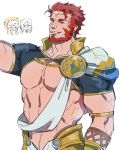 abs arm_up armor bara beard blush capelet chest chibi chibi_inset cosplay covered_navel crown facial_hair facial_scar fate/grand_order fate/zero fate_(series) greek_clothes iskandar_(fate) jeje_(pixiv12541114) leather long_hair looking_at_another looking_at_viewer male_focus manly multiple_boys muscle nipples pectorals red_eyes redhead revealing_clothes sash scar short_sleeves simple_background smile solo_focus sparkle upper_body waver_velvet zeus_(fate/grand_order) zeus_(fate/grand_order)_(cosplay)