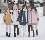 5girls :d ^_^ akiyama_mio backpack bag beige_coat black_footwear black_hair black_legwear blonde_hair blue_coat blurry blurry_background blush brown_footwear brown_hair closed_eyes coat commentary depth_of_field grey_footwear grey_skirt hair_ornament hairband hairclip hand_on_another's_shoulder hands_in_pockets happy heart heart_print highres hirasawa_yui holding_strap jeff_macanoli k-on! kotobuki_tsumugi long_hair long_sleeves looking_at_another looking_at_viewer mittens multiple_girls nakano_azusa open_mouth pantyhose parted_lips pink_coat pleated_skirt scarf short_hair short_sleeves skirt sleeves_past_wrists smile snow socks tainaka_ritsu walking white_coat white_footwear white_legwear white_scarf winter winter_clothes