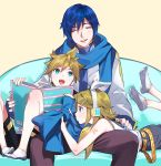 1girl 2boys blonde_hair blue_eyes blue_hair book brother_and_sister closed_eyes hair_between_eyes headset kagamine_len kagamine_rin looking_at_another multiple_boys naoko_(naonocoto) sailor_collar scarf siblings simple_background smile twins vocaloid yellow_background