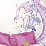 1girl :d ahoge animal book cat choker closed_eyes collarbone crying cure_beat hair_intakes hair_ornament heart heart_hair_ornament holding holding_animal hummy_(suite_precure) long_hair official_style open_book open_mouth precure purple_hair shin_(irowanioedo) shiny shiny_hair short_sleeves side_ponytail simple_background smile solo suite_precure sunlight tears upper_body very_long_hair white_background