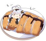 1girl :t antenna_hair bangs black_jacket blush chibi closed_mouth commentary eating food food_on_face hair_between_eyes hair_ornament headset highres holding holding_food in_food jacket kizuna_akari long_hair long_sleeves milkpanda minigirl plate puffy_long_sleeves puffy_sleeves sauce silver_hair sleeves_past_wrists solid_oval_eyes solo star_(symbol) tonkatsu translated twintails very_long_hair voiceroid wavy_mouth
