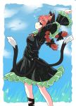 animal_ears black_bow black_dress black_ribbon bow bubble cat_ears cat_girl cat_tail chups closed_mouth dress extra_ears eyebrows_visible_through_hair fang frilled_dress frilled_sleeves frills green_frills highres kaenbyou_rin looking_at_viewer multiple_tails outdoors red_eyes red_neckwear redhead ribbon sky stretch tail touhou two_tails