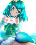 1girl aqua_hair aqua_legwear asymmetrical_legwear backlighting bangs choker closed_mouth collarbone cure_milky erufa_(pixiv) eyebrows_visible_through_hair green_eyes hair_ornament head_tilt heart heart_hands highres long_hair looking_at_viewer miniskirt pointy_ears precure see-through shiny shiny_hair simple_background sitting skirt smile solo star-shaped_pupils star_(symbol) star_hair_ornament star_twinkle_precure symbol-shaped_pupils thigh-highs white_background white_skirt