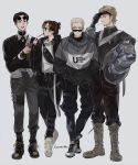 1girl 3boys baggy_clothes baggy_pants black_hair blonde_hair boots brown_hair connie_springer contemporary crew_cut eyewear_on_head facial_hair food full_body grey_hair height_difference highres hood hoodie jacket jean_kirchstein looking_at_viewer marco_bodt medium_hair multiple_boys older pants pocky ponytail sasha_braus sawanobba shingeki_no_kyojin short_hair simple_background sunglasses survey_corps tied_hair timeskip turtleneck undercut