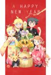 2016 2boys 2girls :d aipom alternate_hairstyle bamboo black_hair blonde_hair blue_eyes blue_nails blush border braid branch brother_and_sister brown_eyes brown_hair chimchar chinese_zodiac citron_(pokemon) clothed_pokemon darumaka dedenne english_text eureka_(pokemon) fan floral_print flower gen_1_pokemon gen_2_pokemon gen_4_pokemon gen_5_pokemon gen_6_pokemon glasses grin hair_flower hair_ornament hand_on_another's_shoulder happy_new_year highres japanese_clothes kadomatsu kimono laughing legendary_pokemon looking_at_viewer mei_(maysroom) multiple_boys multiple_girls nail_polish new_year on_head open_mouth pansage pikachu poke_ball poke_ball_(generic) poke_ball_symbol pokemon pokemon_(anime) pokemon_(creature) pokemon_on_head pokemon_xy_(anime) print_kimono puni_(pokemon) red_background red_ribbon ribbon satoshi_(pokemon) serena_(pokemon) siblings side_ponytail smile squatting standing three_monkeys tied_hair upper_teeth v white_border year_of_the_monkey zygarde zygarde_core