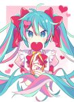 1girl apron aqua_eyes aqua_hair bangs bow bowtie candy closed_mouth cropped_torso eyebrows_visible_through_hair food hair_bow hair_ornament hatsune_miku heart heart-shaped_pupils heart_hair_ornament heart_lollipop holding_lollipop lollipop long_hair looking_at_viewer multicolored_hair nail_art nail_polish pink_background pink_hair pink_shirt puffy_short_sleeves puffy_sleeves red_bow red_nails red_neckwear shirt short_sleeves smile solo streaked_hair striped striped_background symbol-shaped_pupils symbol_commentary twintails two-tone_hair upper_body valentine vocaloid yoshiki