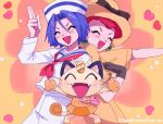 1boy 1girl 2ameyasan2 blue_eyes blue_hair blush closed_eyes gen_1_pokemon green_eyes hat heart highres kojirou_(pokemon) meowth musashi_(pokemon) redhead team_rocket