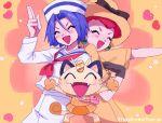 1boy 1girl 2ameyasan2 blue_eyes blue_hair blush closed_eyes gen_1_pokemon green_eyes hat heart highres kojirou_(pokemon) meowth musashi_(pokemon) redhead team_rocket