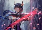 1girl arknights bangs black_jacket blue_hair building ch'en_(arknights) commentary dragon_horns dual_wielding gomashiwo_o hair_between_eyes holding holding_sword holding_weapon horns jacket long_hair looking_at_viewer low_twintails necktie open_clothes open_jacket outdoors rain red_eyes shirt sidelocks solo sword twintails upper_body weapon white_shirt yellow_neckwear