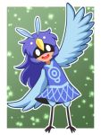1girl :d alula_(oneshot) blue_dress blue_feathers blue_hair blue_wings commentary_request dark_skin dress full_body green_background long_hair looking_at_viewer oneshot_(game) open_mouth outline partial_commentary rereku simple_background smile solo standing waving white_outline wings