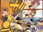 2boys bare_shoulders black_hair blocking crossover english_commentary fairy_tail fighting fire freckles grin hat henil031 jewelry kicking multiple_boys natsu_dragneel necklace one_piece pink_hair portgas_d_ace scarf shirtless smile spiky_hair straw_hat tattoo watermark
