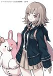 1girl backpack bag bangs beige_skirt blue_jacket buttons commentary cowboy_shot danganronpa flipped_hair hair_ornament highres hood hood_down hooded_jacket jacket medium_hair monomi_(danganronpa) nanami_chiaki neck_ribbon open_clothes open_jacket pink_bag pink_eyes pink_hair pink_ribbon pleated_skirt ribbon riinougat shirt sidelocks simple_background skirt smile stuffed_animal stuffed_bunny stuffed_toy super_danganronpa_2 white_background white_shirt