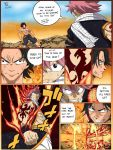 2boys bare_shoulders black_hair clash clenched_hands crossover fairy_tail fighting fire freckles glowing glowing_fist grin hat henil031 highres jewelry multiple_boys natsu_dragneel necklace one_piece pink_hair portgas_d_ace scarf shirtless smile speech_bubble spiky_hair straw_hat tattoo watermark