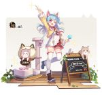 1girl ;d animal animal_bag animal_ears arm_up bag bangs bell black_footwear blue_hair blush boots cat cat_bag cat_ears cat_tower character_request dress english_text eyebrows_visible_through_hair fake_animal_ears fang food hair_between_eyes hasu_(velicia) highres holding holding_food jacket jingle_bell long_hair mahjong_soul official_art one_eye_closed one_side_up open_clothes open_jacket open_mouth plaid plaid_skirt popsicle red_eyes red_skirt romaji_text shoulder_bag sign skirt smile solo sparkle standing standing_on_one_leg thigh-highs thighhighs_under_boots white_dress white_legwear yellow_jacket