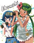 2girls bare_shoulders blue_eyes blue_hair blue_pants blush breasts collarbone commentary_request eating eyebrows_visible_through_hair flower food gold_hairband green_eyes green_hair hair_flower hair_ornament hairband holding holding_food katsuto long_hair mao_(pokemon) multiple_girls no_sclera open_mouth pants pink_flower pokemon pokemon_(game) pokemon_sm rope_belt school_swimsuit shiny shiny_hair short_hair suiren_(pokemon) swimsuit swimsuit_under_clothes teeth tongue trial_captain twintails upper_teeth