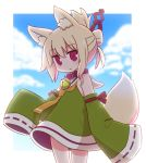 1girl animal_ear_fluff animal_ears bangs bare_shoulders bell bell_collar blonde_hair blurry blurry_background blush brown_collar collar day depth_of_field detached_sleeves dress eyebrows_visible_through_hair folded_ponytail fox_ears fox_girl fox_tail green_dress grey_sleeves hair_between_eyes hair_ornament highres jingle_bell kemomimi-chan_(naga_u) long_hair long_sleeves looking_at_viewer naga_u orange_neckwear original parted_lips red_eyes ribbon-trimmed_sleeves ribbon_trim sailor_collar sailor_dress sidelocks sleeveless sleeveless_dress sleeves_past_fingers sleeves_past_wrists solo standing tail white_sailor_collar wide_sleeves