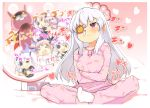 :3 blood blush breasts chibi crossed_arms crossed_legs english_text eyepatch flower flower_(symbol) heart hibari_(senran_kagura) large_breasts long_hair nosebleed official_art pajamas pink_background pink_pajamas rabbit red_eyes red_scarf running scarf senran_kagura simple_background snot socks sweatdrop tears thought_bubble thumbs_up tissue waifu2x white_flower white_hair white_legwear yaegashi_nan yagyuu_(senran_kagura)