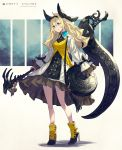 1girl ankle_boots bag bangs black_footwear black_ribbon blonde_hair blue_eyes boots breasts camisole camisole_over_clothes closed_mouth dress full_body hair_ribbon hairband high_heel_boots high_heels highres holding holding_scythe holding_staff kusano_shinta layered_dress long_hair long_sleeves looking_away medium_breasts original ribbon scythe shoulder_bag sleeves_past_wrists smile solo staff standing tassel two-tone_footwear white_dress yellow_footwear