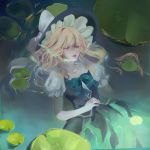 1girl afloat black_headwear black_skirt black_vest blonde_hair blue_neckwear bow bowtie closed_eyes facing_viewer floating_hair frilled_hat frills hat hat_bow highres kirisame_marisa lily_pad parted_lips puffy_short_sleeves puffy_sleeves red_lips rye_(hyn_uka) short_sleeves skirt solo touhou vest water wet wet_clothes wet_hair white_bow
