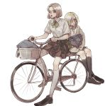 2girls alternate_costume alternate_hairstyle annie_leonhardt backpack bag bicycle blonde_hair blue_eyes bow bowtie brown_hair contemporary ground_vehicle hair_over_one_eye highres hitch_dreyse hood hoodie multiple_girls one_eye_closed parody pi0w0pi school_uniform shingeki_no_kyojin short_hair simple_background skirt uniform yellow_eyes younger yuri