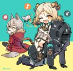 +_+ 1boy 2girls all_fours animal_ear_fluff animal_ears arknights bangs black_footwear black_gloves black_jacket black_legwear black_pants blue_background brown_hair burnt commentary_request curled_horns doctor_(arknights) dress eighth_note eyebrows_visible_through_hair fire fur-trimmed_hood fur_trim gloves green_eyes grey_hair hair_between_eyes heart heart_in_mouth hood hood_up hooded_jacket horns ifrit_(arknights) jacket long_sleeves looking_at_viewer looking_back low_twintails marshmallow_mille mouth_hold multiple_girls musical_note one_eye_closed open_mouth open_toe_shoes pants pantyhose parted_bangs projekt_red_(arknights) red_eyes red_jacket shoes short_twintails sitting sitting_on_person spoken_musical_note spoken_squiggle spoken_sweatdrop squiggle sweat sweatdrop tail twintails twitter_username two-tone_background v-shaped_eyebrows white_dress yellow_background