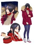 1girl absurdres black_hair breasts cake christmas_cake coat denim eating food fruit full_body fur-trimmed_coat fur_trim glasgow_smile hair_over_one_eye highres jeans kuchisake-onna large_breasts long_hair multiple_views original pants red_eyes sohn_woohyoung strawberry winter_clothes winter_coat zipping