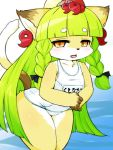1girl animal_ears animal_nose blush cat cat_ears cat_girl cat_tail cowboy_shot eyebrows_visible_through_hair fang fullbokko_heroes furry green_hair highres kushinada_(fullbokko_heroes) leaning_forward long_hair looking_at_viewer open_mouth school_swimsuit solo swimsuit tail takeshi-kemo two-tone_fur white_fur white_school_swimsuit white_swimsuit yellow_eyes yellow_fur