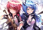 2girls :p absurdres arknights assault_rifle bangs belt black_belt black_gloves black_jacket black_shirt blue_eyes blue_hair blue_tongue blush breasts brown_eyes clothes_writing commentary_request exusiai_(arknights) eyebrows_visible_through_hair eyes_visible_through_hair gloves gun h&k_hk416 hair_intakes hair_over_one_eye halo hand_up heart highres holding holding_gun holding_weapon horns jacket long_hair long_sleeves looking_at_viewer medium_breasts mostima_(arknights) multiple_girls nenobi_(nenorium) open_clothes open_jacket raglan_sleeves redhead rifle shirt short_hair smile tongue tongue_out weapon white_gloves white_jacket white_shirt