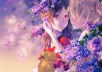 2girls areazero bag blonde_hair blurry blurry_background brown_hair collarbone day flower fresh_precure! higashi_setsuna holding holding_bag long_hair looking_at_another momozono_love motion_blur multiple_girls open_mouth outdoors paper_bag precure purple_flower red_eyes red_shirt shirt short_sleeves twintails upper_body