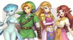 1boy 3girls :d belt blonde_hair blue_eyes breasts cowboy_shot dress earrings elbow_gloves gloves gonzarez green_tunic jewelry large_breasts link long_hair looking_at_viewer malon master_sword medium_breasts multiple_girls neckerchief no_pussy older open_mouth pointy_ears princess_ruto princess_zelda redhead short_sleeves smile the_legend_of_zelda the_legend_of_zelda:_ocarina_of_time triforce tunic violet_eyes