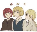 1boy 2girls armin_arlert blonde_hair blue_eyes brown_eyes brown_hair cape chibi chibi_inset christa_renz cloak collared_shirt confused long_hair look-alike multiple_girls nifa_(shingeki_no_kyojin) otoko_no_ko pi0w0pi ponytail redhead shingeki_no_kyojin shirt short_hair sweat sweatdrop tied_hair trait_connection vest yellow_eyes