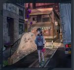 1girl awning black_hair black_shorts building cabbage_kizamiyarou day flower grate ground_vehicle highres motor_vehicle original road_sign shoes short_hair shorts sign sneakers solo standing toolbox truck watch watch
